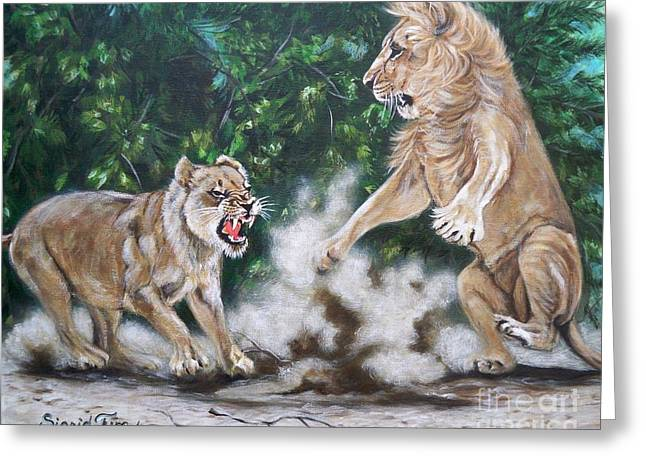 Growling Paintings Greeting Cards - 367  My Lioness Domain Greeting Card by Sigrid Tune