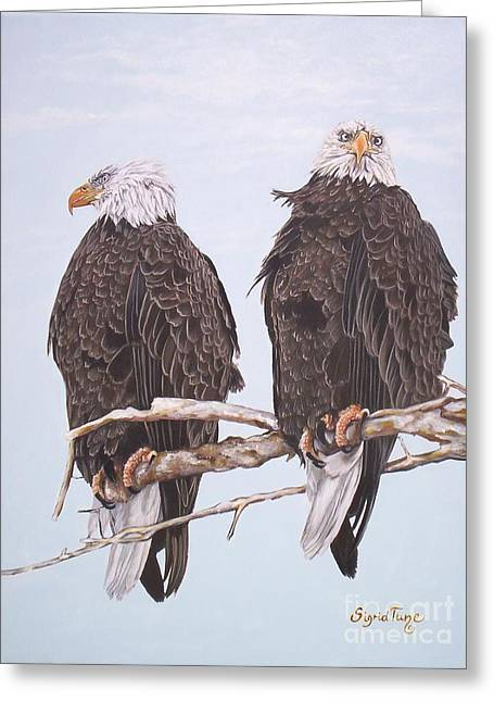 Hunting Bird Greeting Cards - 387 Two Perched Eagles Greeting Card by Sigrid Tune