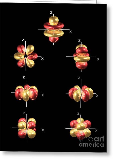 4f Electron Orbitals, General Set Greeting Card by Dr. Mark J. Winter