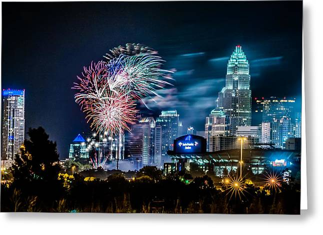 4th of july firework over charlotte skyline Greeting Card by Alexandr Grichenko