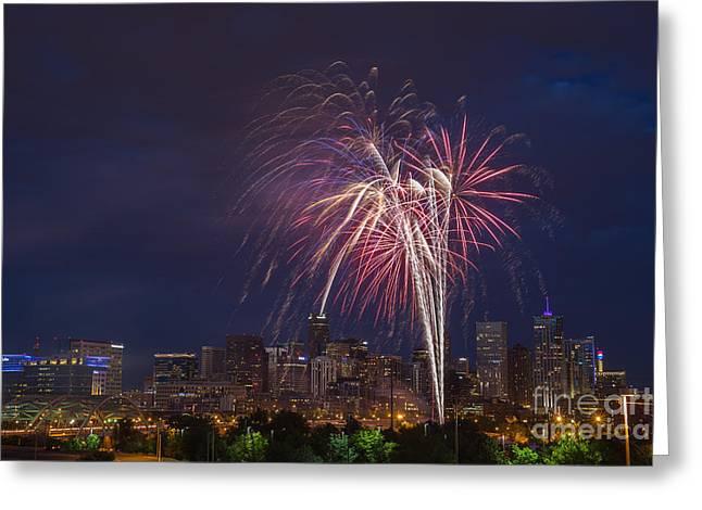 Speer Greeting Cards - 4th of July Fireworks Over Denver Skyline Greeting Card by Bridget Calip