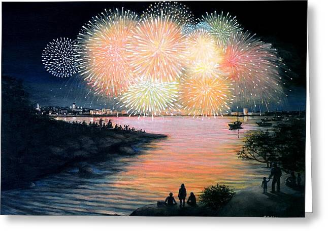 Best Sellers -  - 4th July Paintings Greeting Cards - 4th of July Gloucester Harbor Greeting Card by Eileen Patten Oliver