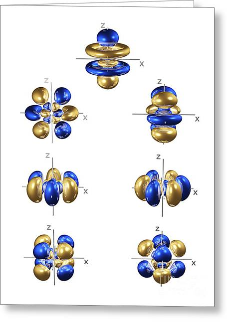 Electron Orbital Greeting Cards - 5f Electron Orbitals, General Set Greeting Card by Dr. Mark J. Winter