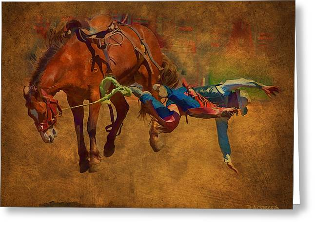 Western Western Art Greeting Cards - 6 Second Ride...2 Second Landing Greeting Card by Robert Albrecht