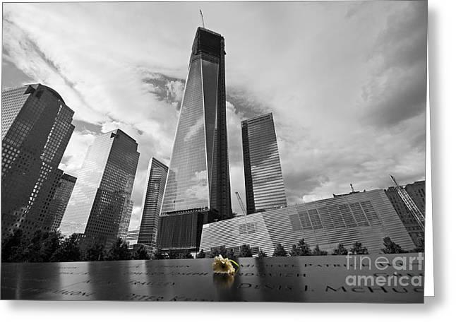 Wtc 11 Greeting Cards - 9/11 Memorial Greeting Card by Shishir Sathe