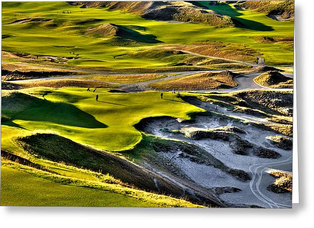 Us Open Golf Greeting Cards - #9 at Chambers Bay Golf Course Greeting Card by David Patterson