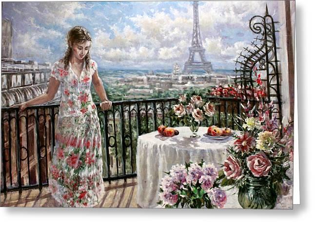 Eifelturm Greeting Cards - A balcony in Paris Greeting Card by Dmitri Kulikov
