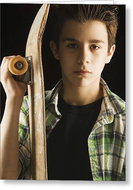 Black Ancestry Greeting Cards - A Boy With A Skateboard Greeting Card by Darren Greenwood