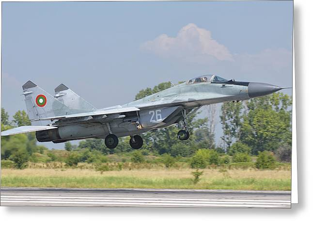 A Bulgarian Air Force Mig-29 Greeting Card by Giovanni Colla