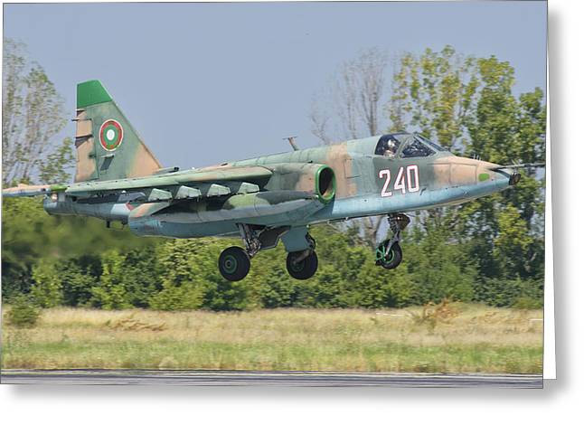 A Bulgarian Air Force Su-25 Jet Greeting Card by Giovanni Colla