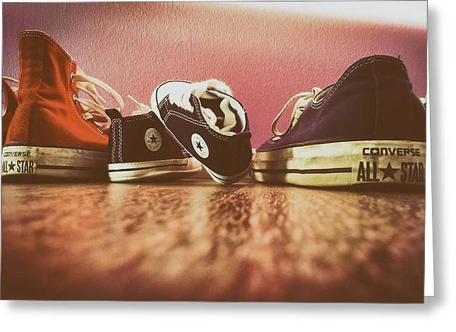 Mens Shoe Greeting Cards - A Converse Family Greeting Card by Mountain Dreams