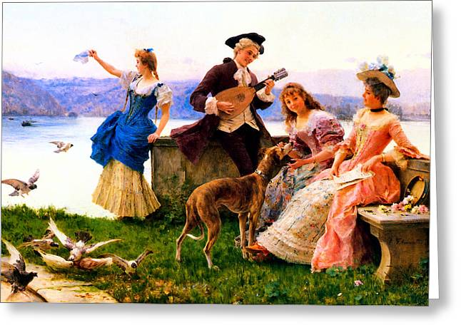Old Masters Greeting Cards - A Days Outing Greeting Card by Federico Andreotti