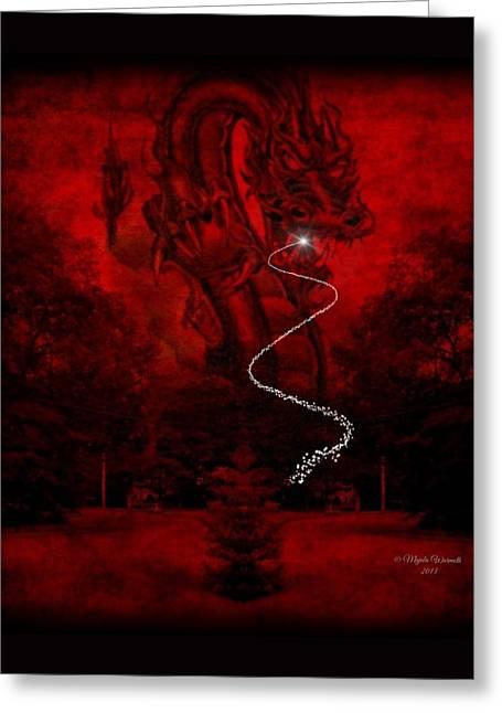 Dungeons Greeting Cards - A Dragons Hiss II Greeting Card by Majula Warmoth