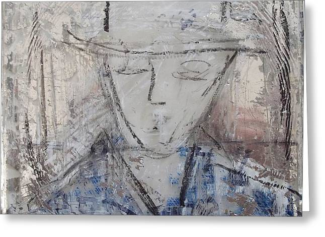 Drawing Glass Art Greeting Cards - A Face I Remember Greeting Card by Debbie Clarke