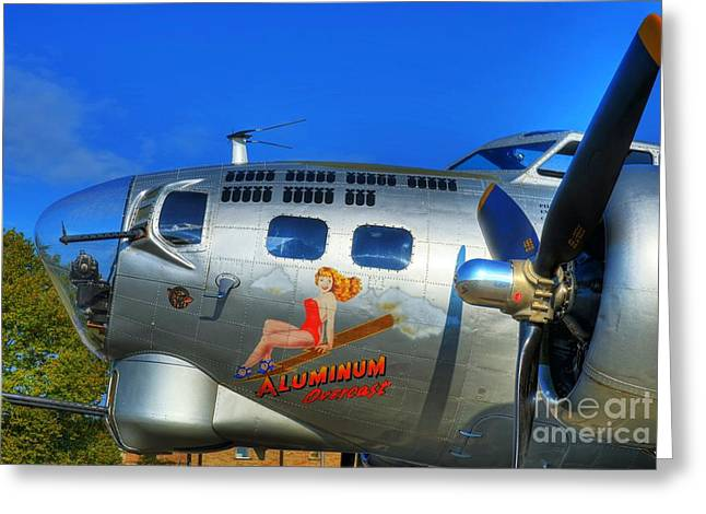 Vintage Nose Art Greeting Cards - A Flying Fortress Greeting Card by Mel Steinhauer