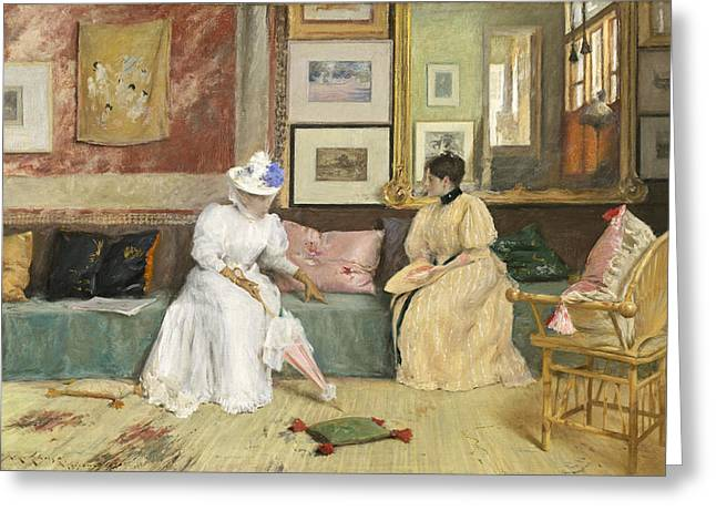 Conversing Paintings Greeting Cards - A Friendly Call Greeting Card by William Merritt Chase