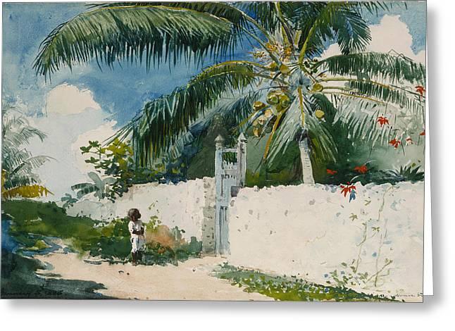 A Garden In Nassau Greeting Card by Celestial Images