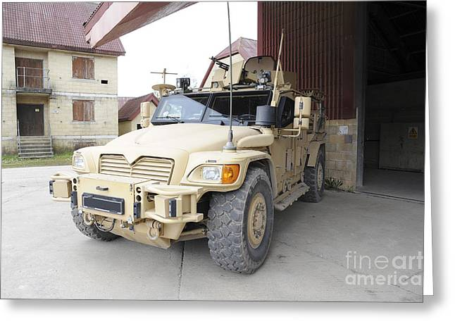Huskies Photographs Greeting Cards - A Husky Tsv Armored Vehicle Greeting Card by Andrew Chittock
