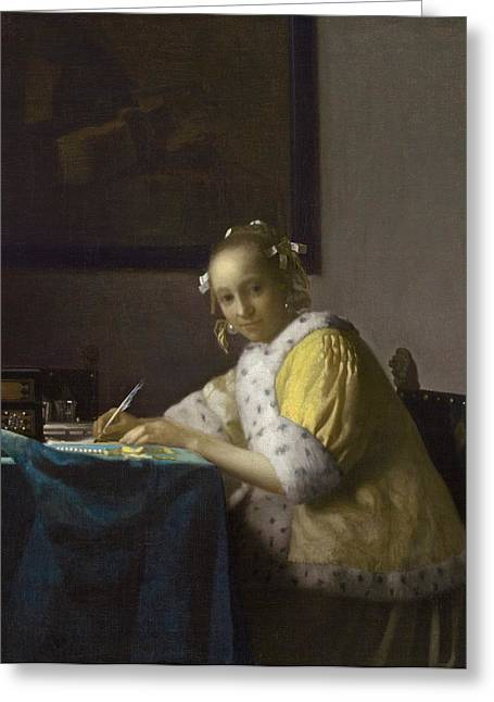 Lady Washington Greeting Cards - A Lady Writing Greeting Card by Johannes Vermeer