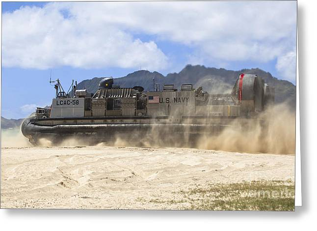 On The Beach Greeting Cards - A Landing Craft Air Cushion Greeting Card by Stocktrek Images