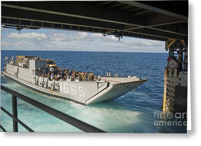 A Landing Craft Utility Departs Greeting Card by Stocktrek Images