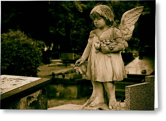 Headstones Greeting Cards - A Little Angel Watching Over Greeting Card by Mountain Dreams
