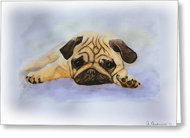 Bulldog Puppies Pictures Greeting Cards - A Little Bulldog Greeting Card by Anna Androsovski