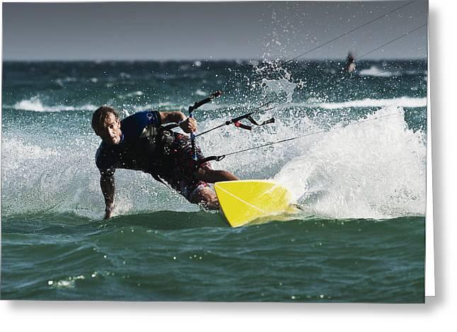 Kitesurf Greeting Cards - A Man Kitesurfing Tarifa, Cadiz Greeting Card by Ben Welsh