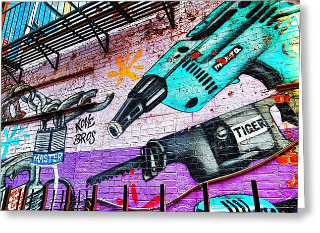 City Murals Greeting Cards - A Mans Tools Greeting Card by Diana Angstadt
