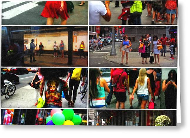 Times Square Digital Art Greeting Cards - A New York Minute Greeting Card by Nishanth Gopinathan