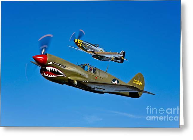 Curtiss Kittyhawk P-40 Greeting Cards - A P-40e Warhawk And A P-51d Mustang Greeting Card by Scott Germain