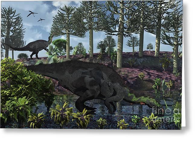 Stream Digital Art Greeting Cards - A Pair Of Herbivorous Camptosaurus Greeting Card by Mark Stevenson