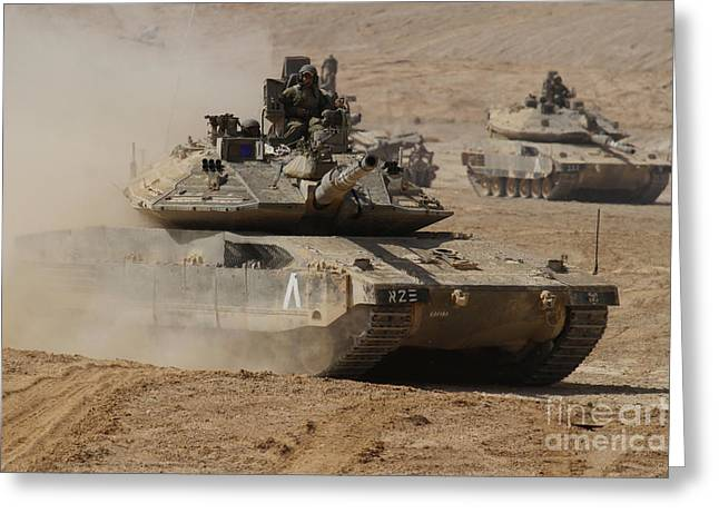 Battletank Greeting Cards - A Pair Of Israel Defense Force Merkava Greeting Card by Ofer Zidon