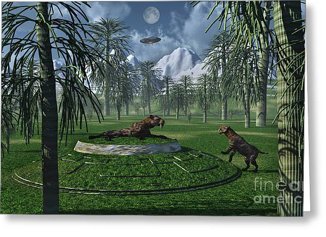 The Tiger Greeting Cards - A Pair Of Sabre-tooth Tigers Greeting Card by Stocktrek Images