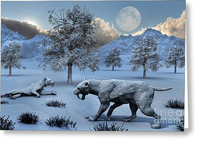 Snow-covered Landscape Digital Greeting Cards - A Pair Of Sabre-toothed Tigers Greeting Card by Mark Stevenson