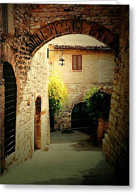 Italian Landscapes Greeting Cards - A Path to Rome Greeting Card by Diana Angstadt