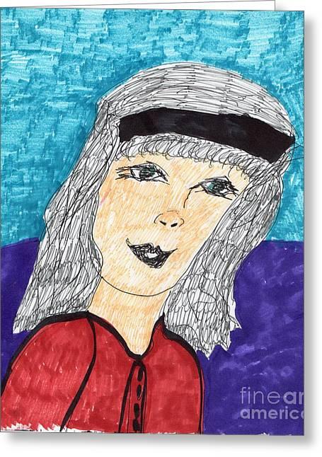 Gray Hair Mixed Media Greeting Cards - A Pretty Lady Greeting Card by Elinor Rakowski