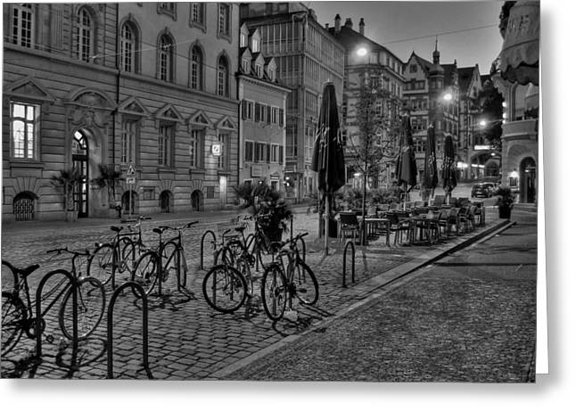 Night Cafe Greeting Cards - A Quiet Evening in Freiburg  Greeting Card by Mountain Dreams