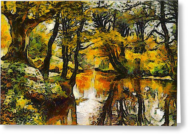 Monsted Greeting Cards - A River Landscape In Springtime Greeting Card by Peder Mork Monsted