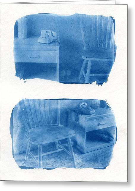 Blue High Heels Greeting Cards - A Room of Ones Own Greeting Card by Jane Linders