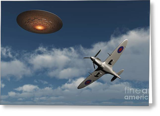 Military Airplanes Greeting Cards - A Royal Air Force Supermarine Spitfire Greeting Card by Mark Stevenson