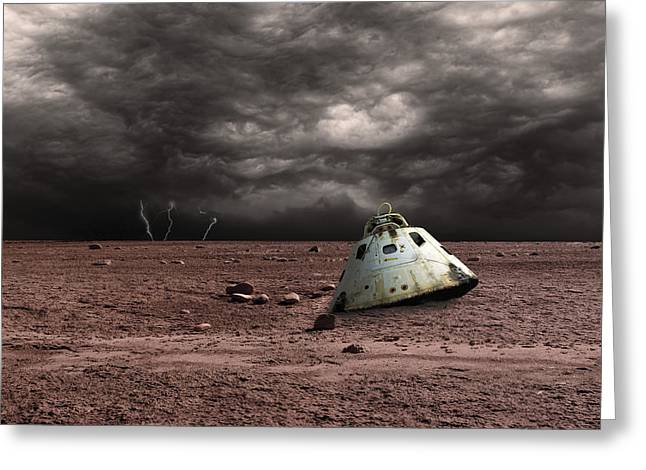 Curiosity Rover Greeting Cards - A Scorched Space Capsule Lies Abandoned Greeting Card by Marc Ward