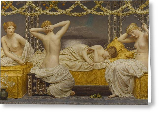 Nude Woman Greeting Card Greeting Cards - A Summer Night Greeting Card by Albert Joseph Moore