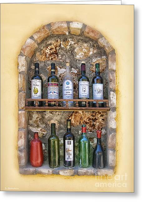 Fine Bottle Greeting Cards - A Toast to Olympia Greeting Card by Sandra Bronstein