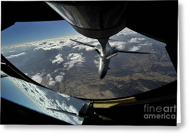 Kc Greeting Cards - A U.s. Air Force B-1b Lancer Greeting Card by Stocktrek Images