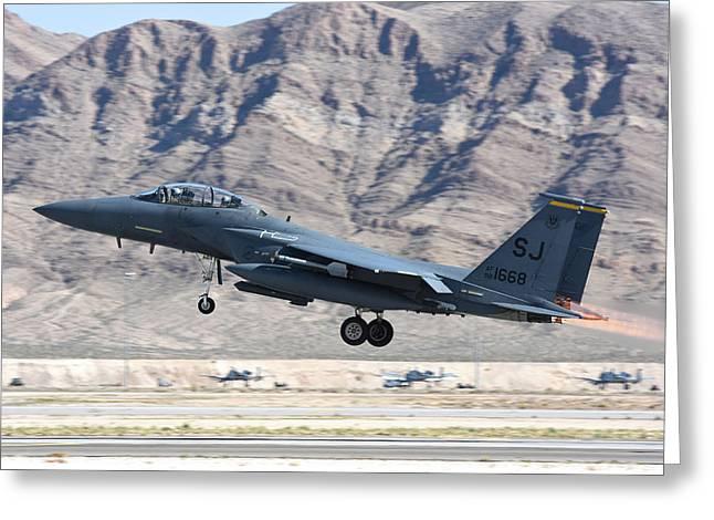 A U.s. Air Force F-15e Strike Eagle Greeting Card by Riccardo Niccoli