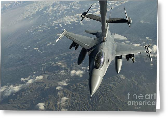 The Higher Planes Greeting Cards - A U.s. Air Force F-16c Fighting Falcon Greeting Card by Stocktrek Images