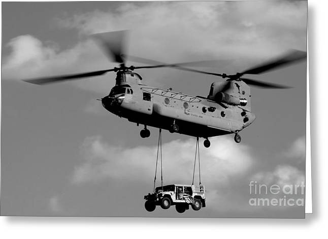 Hmmwv Greeting Cards - A U.s. Army Ch-47 Chinook Helicopter Greeting Card by Stocktrek Images