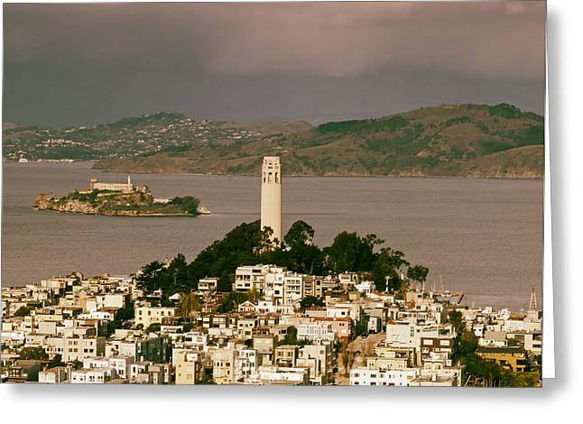 Coit Tower Greeting Cards - A View of Coit Tower and Alcatraz Greeting Card by Mountain Dreams