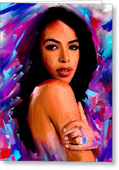 Top Model Greeting Cards - Aaliyah Greeting Card by Bogdan Floridana Oana